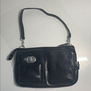 BRIGHTON black python snakeskin purse wristlet